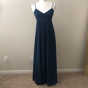 Floor Length Blue Crepe Gown